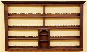 19th C Welch Oak Hanging Plate Rack