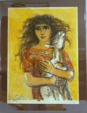 Walter Spitzer Polish b 1927 Woman Holding a Goat