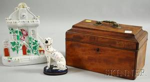 Mahogany Casketform Tea Caddy a Staffordshire Cottage Figure and Seated Spaniel Figure