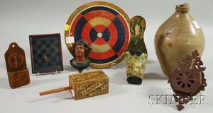 Small Charlestown Ovoid Stoneware Jug Three Wooden Game Board and Toy Items and Four Decorated and Figural Wall Match Safes