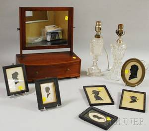 Inlaid Mahogany Dressing Mirror on Cabinet Two Sandwich Colorless Pressed Glass Fluid Lamps and Six Framed Miniature Silhouettes