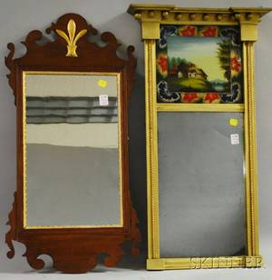 Chippendale Mahogany Mirror and a Federal Giltwood Tabernacle Mirror with Reversepainted Glass Tablet Depicting a Landscape with Co