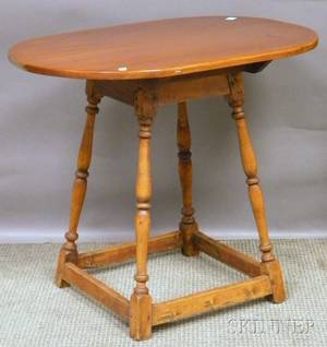 William  Mary Pine and Turned Maple Tavern Table with Splayed Legs and Stretcher Base