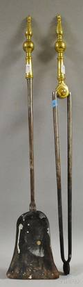 Pair of Brass and Iron Steepletop Fireplace Tools
