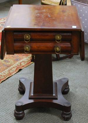 Empire Mahogany and Mahogany Veneer Dropleaf Twodrawer Pedestalbase Work Table