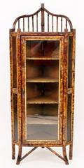 Bamboo Corner Cabinet w Painted Accents