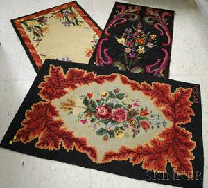 Three Floral Pattern Hooked Rugs