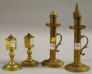 Pair of Brass Fluid Peg Lamps and a Pair of Palmer  Co London Brass Candle Hand Lamps
