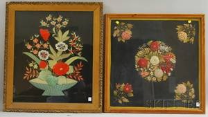 Two Framed Late Victorian Embroidered Floral Panels