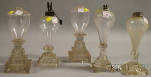 Five Sandwich Glass Co Colorless Blown and Pressed Glass Fluid Lamps