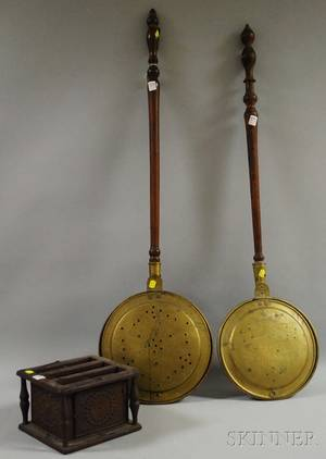 Two Brass Bedwarmers with Turned Wood Handles and a Punched Tin and Wood Footwarmer