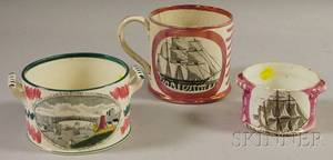 Three Sunderland Pink Lustre Transferdecorated Pottery Items