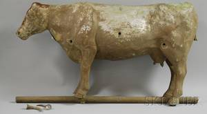 Cast Iron and Molded Copper Fullbody Cow Weather Vane