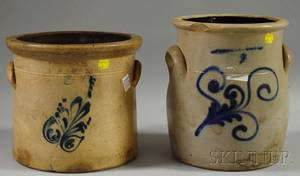 Two Cobalt Floraldecorated Twogallon Stoneware Crocks