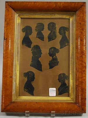 Framed Silhouette Portraits of Eight Family Members