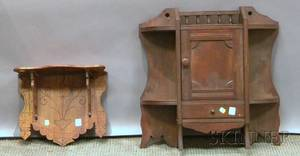 Victorian Walnut Hanging Wall Cabinet and Bracket Wall Shelf