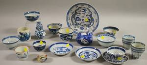 Twentytwo Assorted Chinese Export Blue and White Porcelain Table Items