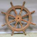 Redpainted Ironmounted Wood Ships Wheel