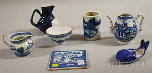 Seven Chinese Export Blue and White Porcelain Table Items