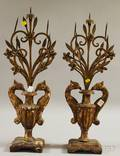 Pair of Italian Carved Giltwood and Wrought Iron Fivelight Candle Garnitures