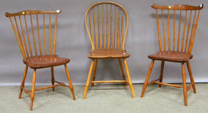 Two Windsor Fanback Side Chairs and a Bowback Side Chair