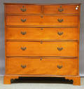 Chippendale Cherry and Tiger Maple Sixdrawer Tall Chest