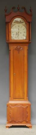 Pennsylvania Carved Cherry Scrolltop Tall Case Clock