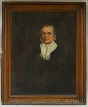 19th Century American School Oil on Canvas Portrait of Susannah Graves