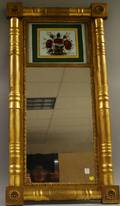 Federal Giltwood Splitbaluster Mirror with Reversepainted Glass Tablet Depicting a Pot of Flowers
