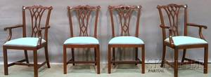 Set of Eight Councill Chippendalestyle Carved Mahogany Dining Chairs with Upholstered Slip Seats