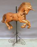 Carved Hardwood Carouselstyle Unicorn Figure