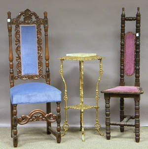 Painted Late Victorian Cast Iron Stand with Onyxinset Top a William  Marystyle Carved Walnut Side Chair and a Turned Wood Hall