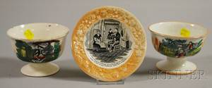 Three Sunderland Orange Lustre Transferdecorated Pottery Items
