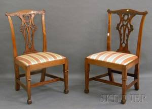 Pair of Georgianstyle Carved Mahogany Side Chairs with Upholstered Slip Seats