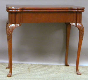 Queen Annestyle Carved Mahogany Card Table