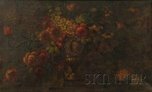 Continental School 19th Century Still Life with Flowers in a Classical Urn