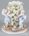 Pair of German figural porcelain spill vases