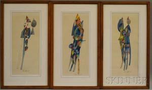 Varujan Boghosian American b 1926 Lot of Three Watercolor and Ink Works on Paper