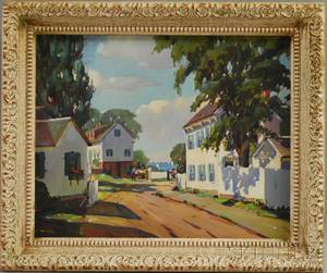 Alice D Johnston American 20th Century Sunny Corner  A New England Village Scene