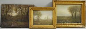 William Baylies Jr American 18591934 Lot of Three Landscapes with a Figure