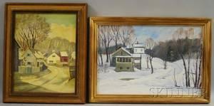 American School 20th Century Lot of Two Winter Landscapes Barn Scene