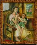 Robert E Redd American 20th21st Century Seated Mother and Child
