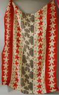 Red White and Blue Stars and Stripes Printed Pieced Linen Suffragettes Parade Smock