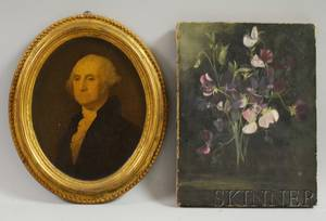 19th Century American School Oil on Canvas Still Life of Johnny Jumpups and a Framed George Washington Portrait Print Plaque