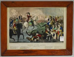 Framed Currier  Ives Small Folio Handcolored Lithograph Battle of the Boyne July 1st 1690