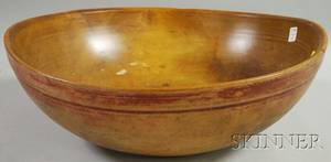 Large Redpainted Turned Wood Bowl
