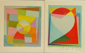Michiel Theobald Gloeckner American 19151989 Lot of Two Geometric Abstracts