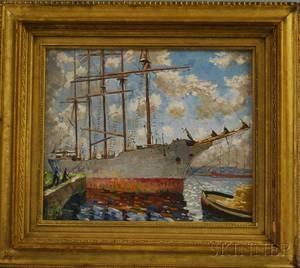 British or Continental School 20th Century Fivemasted Sailing Ship at a Wharf