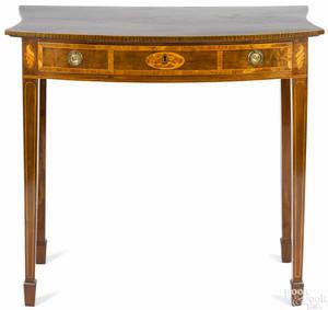 Diminutive George III inlaid mahogany pier table late 18th c