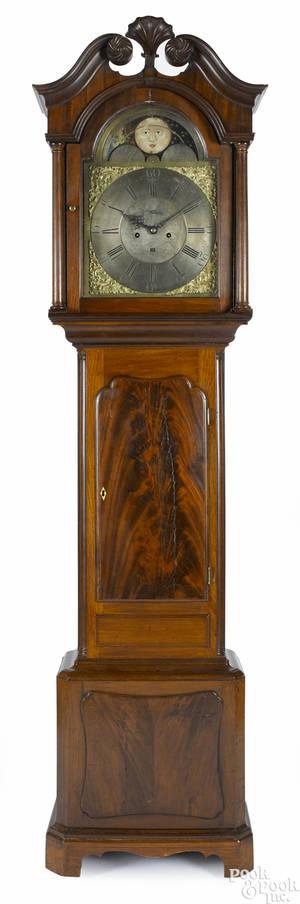 English mahogany tall case clock ca 1800